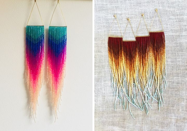 Left to right: Insane Rainbow Fringe Earrings, $  215; CTFO Fringe Earrings, $  215