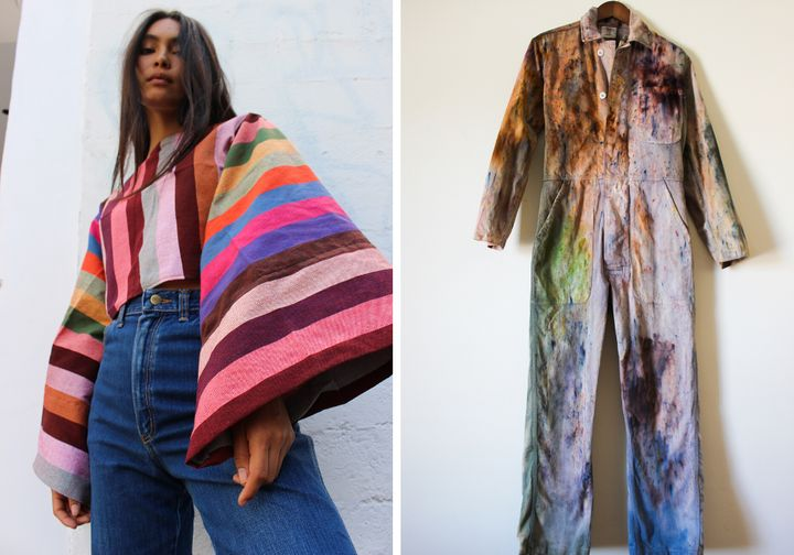 Left to right: Oaxacan Rainbow Top, $  175; Upcycled Vintage Fly Suit, $  350