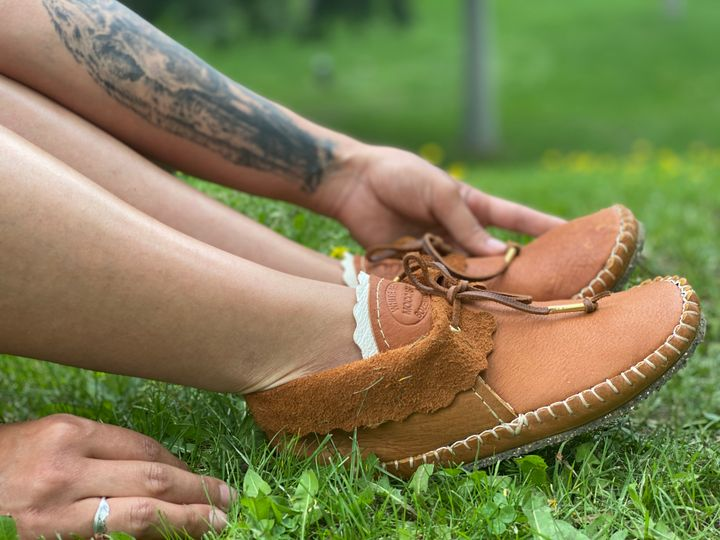 Cognac Bison Ankle Moccasin with Eco Vibram Sole. Price upon request.