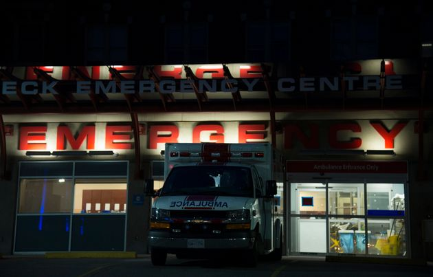 The emergency department entrance to St. Paul's Hospital is shown in downtown Vancouver, B.C. on March...
