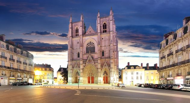 Night view on the saint Pierre cathedral in Nantes city in