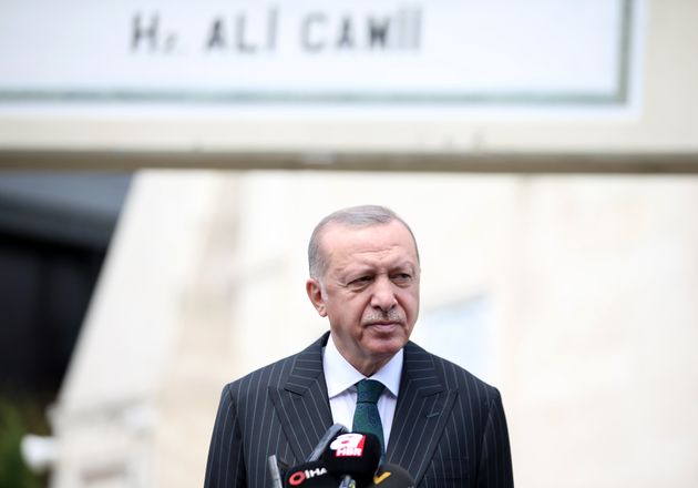 ISTANBUL, TURKEY - JULY 17: Turkish President Recep Tayyip Erdogan speaks to the media after performing...