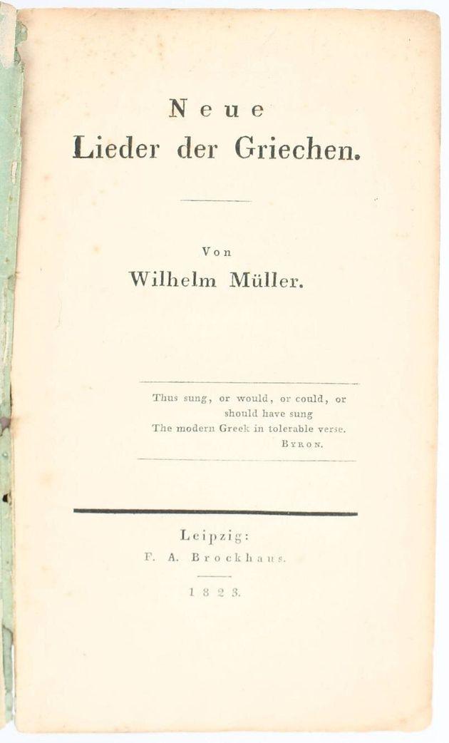 Το έργο Neue Lieder der Griechen του Wilhelm Müller. Πρώτη έκδοση 1823 (Συλλογή