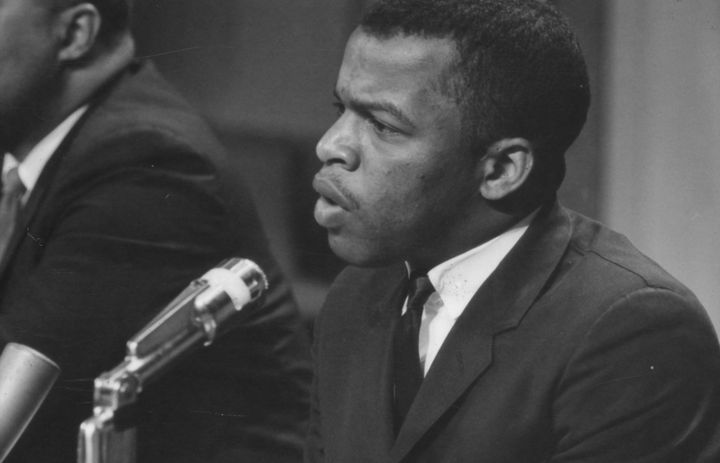 American politician and Civil Rights leader John Lewis speaks at a meeting of the American Society of Newspaper Editors, Wash