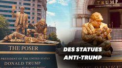 Des artistes créent des statues vivantes anti-Trump à