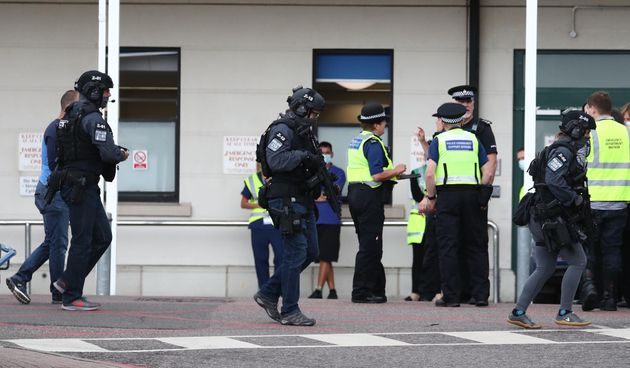 Counter terrorist specialist firearms officers at the Royal Sussex County Hospital in Brighton.