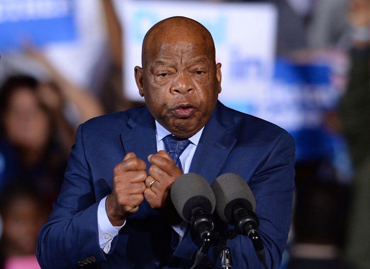 Congressman John Lewis speaks during a campaign rally for Democratic Presidential candidate Hillary Clinton at Reverend Samue