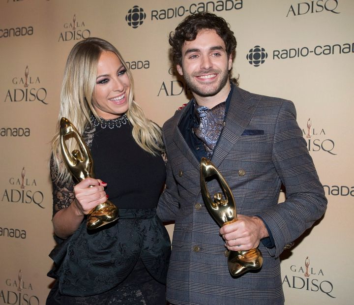 Singer-songwriter Alex Nevsky, right, is pictured with pop star Marie-Mai at the 2014 ADISQ awards.