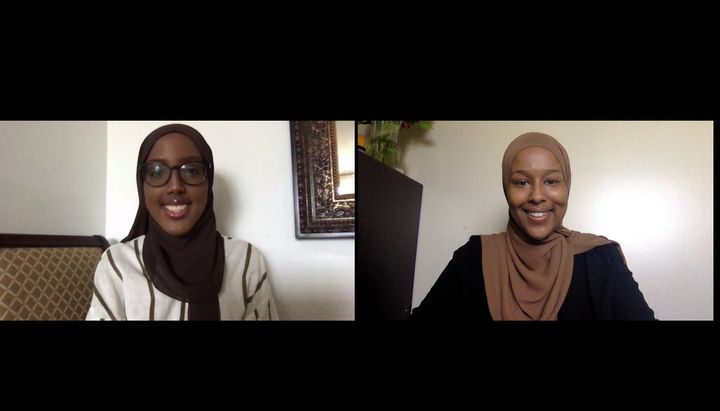 Submitted photo of a zoom call between friends Asmaa Ali, right, and Habon Ali. The women are co-creators of a Canada-wide comprehensive list of resources for survivors of sexual assault.