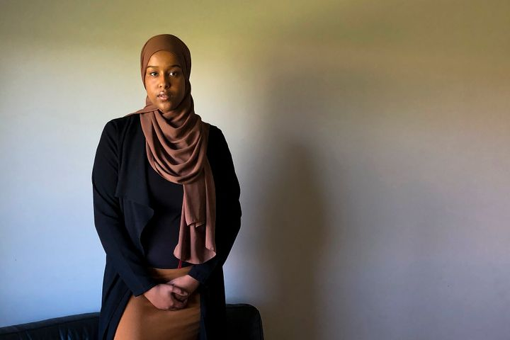 Asmaa Ali is photographed at home in Edmonton on Friday. She is the co-creator, along with her friend Habon Ali, of a Canada-wide comprehensive list of resources for survivors of sexual assault. This image was directed remotely while Aisha Ali operated the camera, because of COVID-19 related restrictions.