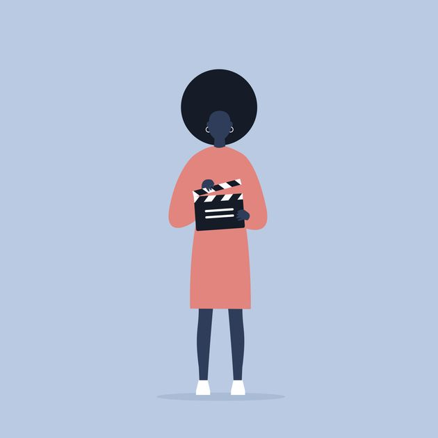 Camera crew. young black female assistant holding a clapperboard / editable flat vector cartoon illustration,...