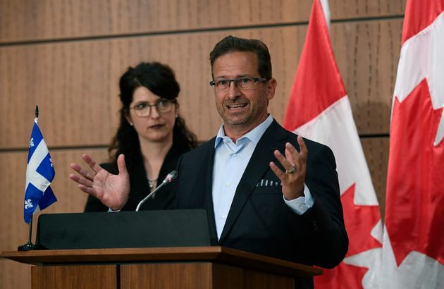 Bloc Quebecois Leader Yves-Francois Blanchet speaks at a news conference in Ottawa on July 19, 2020,...
