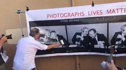 Vernice bianca sul sorriso di Falcone e Borsellino. Il flash mob non piace a tutti