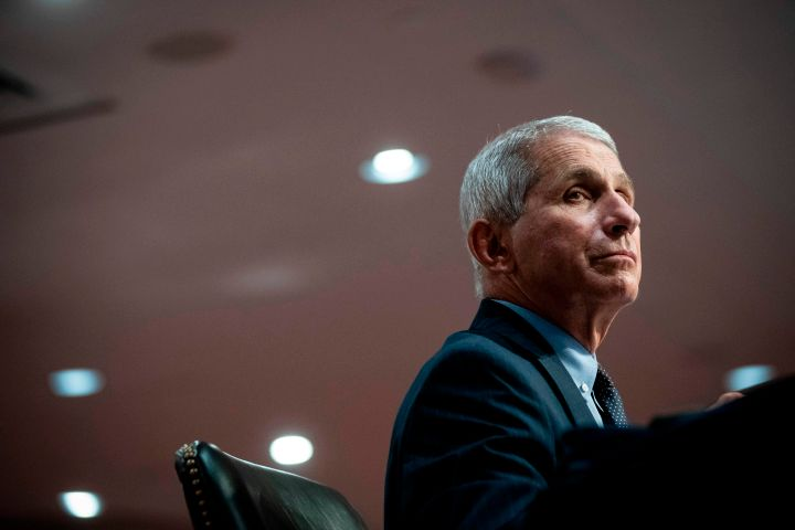 Dr. Anthony Fauci, the United States' top infectious disease expert, listens during a Senate committee hearing in Washington,