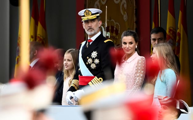MADRID, SPAIN - OCTOBER 12: King Felipe of Spain, Queen Letizia of Spain, Princess Leonor and Princess...