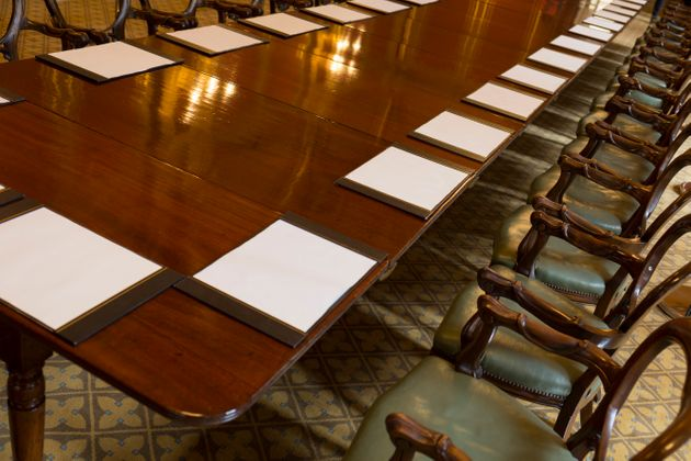 The long meeting table in the Locarno room at the Foreign and Commonwealth