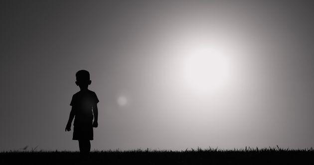 Little child walking in a