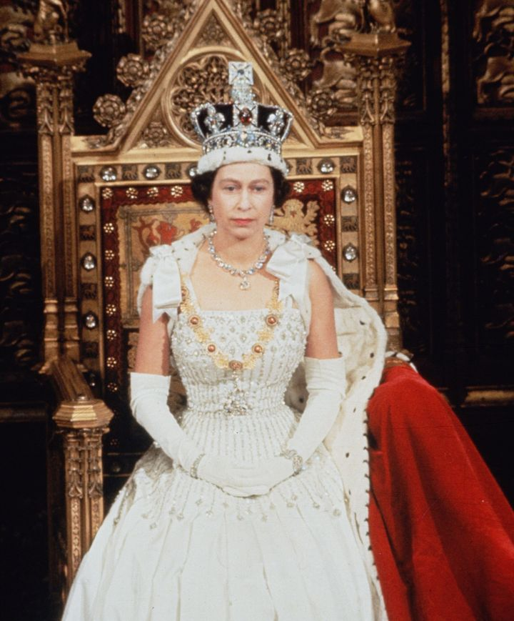 Queen Elizabeth wearing the dress again at the state opening of Parliament in April 1966.