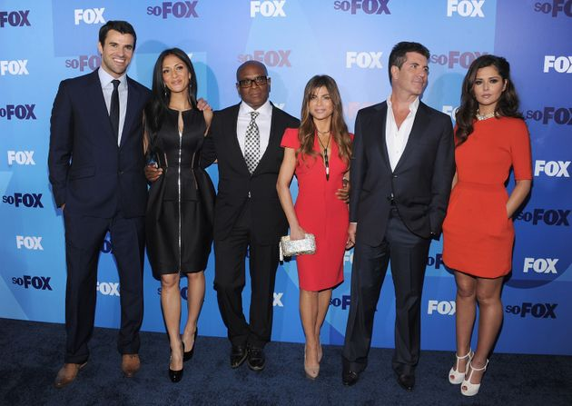 Steve Jones, Nicole Scherzinger, L.A Reid, Paula Abdul, Simon Cowell and Cheryl Cole attend the 2011...
