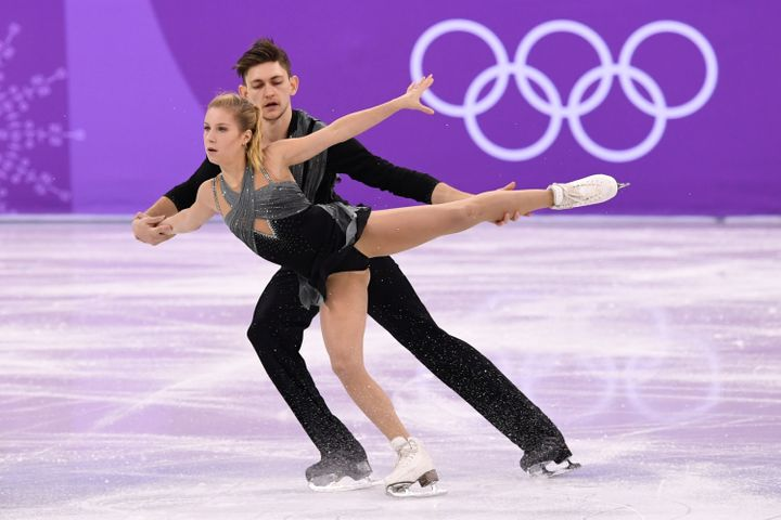 Ekaterina Alexandrovskaya is pictured with her pairs partner Harley Windsor at the 2018 Winter Olympics, where they represent