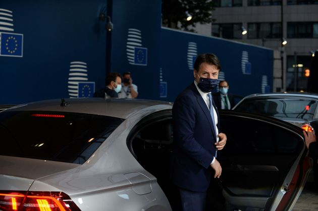 Italy's Prime Minister Giuseppe Conte departs from a meeting at the EU summit, amid the coronavirus pandemic...