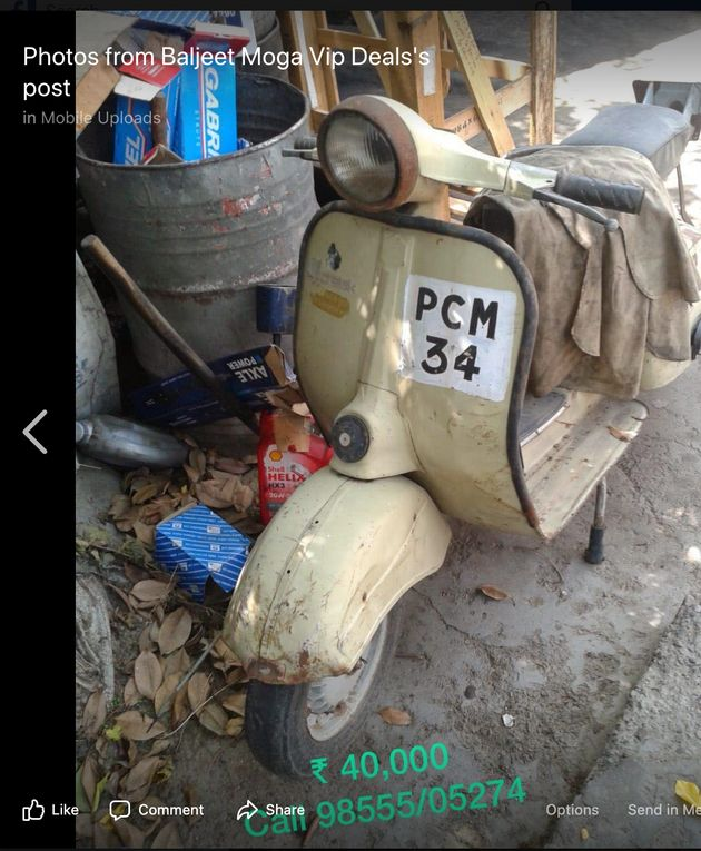A old scooter with an old number was put on sale for Rs 40,000 by the