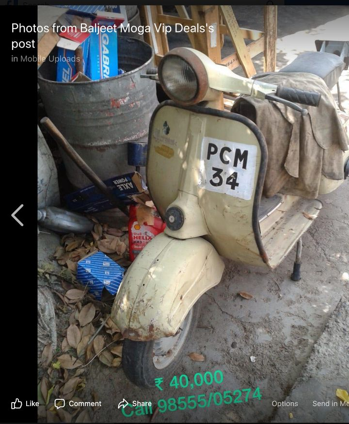 A old scooter with an old number was put on sale for Rs 40,000 by the dealer.