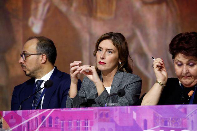 Italian politicians Davide Faraone, Maria Elena Boschi and Teresa Bellanova during the National Assembly...