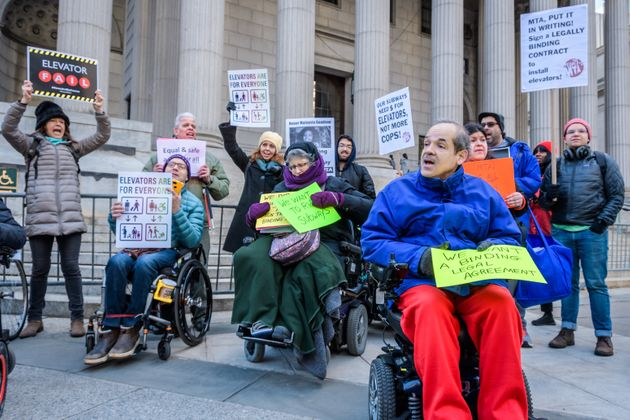 Disability rights protesters gathered outside a New York courthouse in January to highlight the inaccessibility...