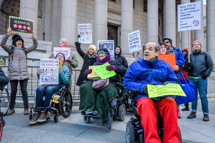 Disability rights protesters gathered outside a New York courthouse in January to highlight the inaccessibility of the city&r