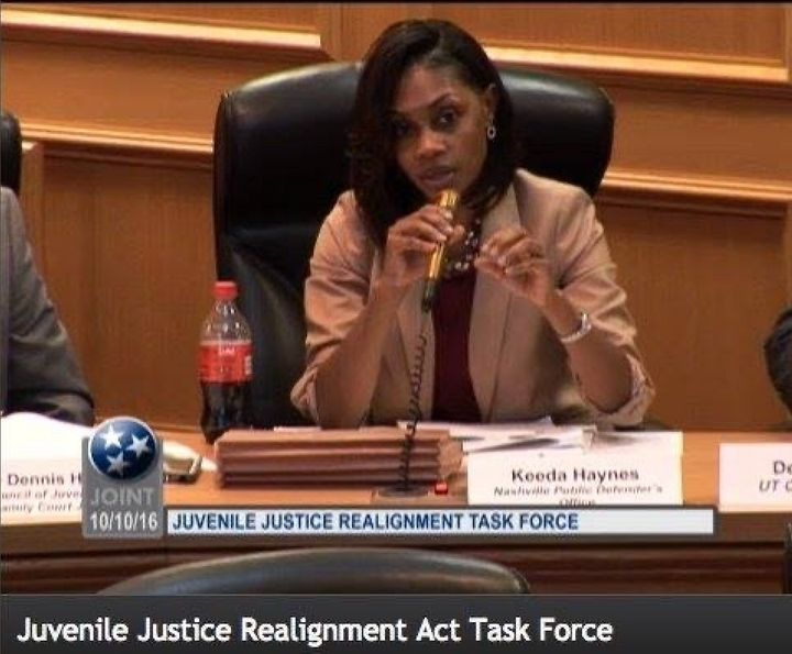 Haynes speaking on a juvenile justice task force committee in the Tennessee state legislature.