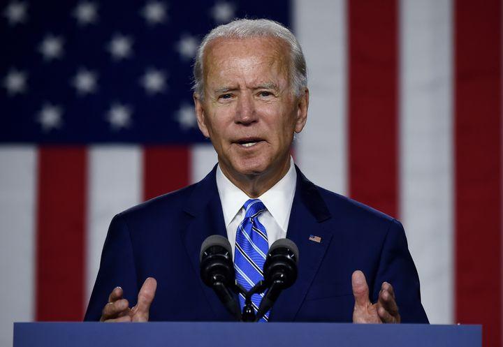 "Democratic presidential candidate Joe Biden speaks last week in Wilmington, Delaware, about his ""Build Back Better"" plan. The"
