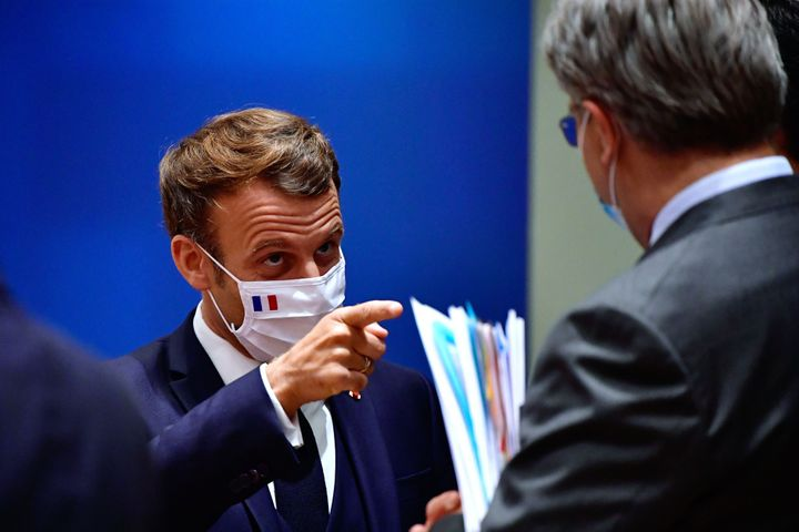 French President Emmanuel Macron during a meeting at the EU summit. He called the deal that European leaders eventually reach