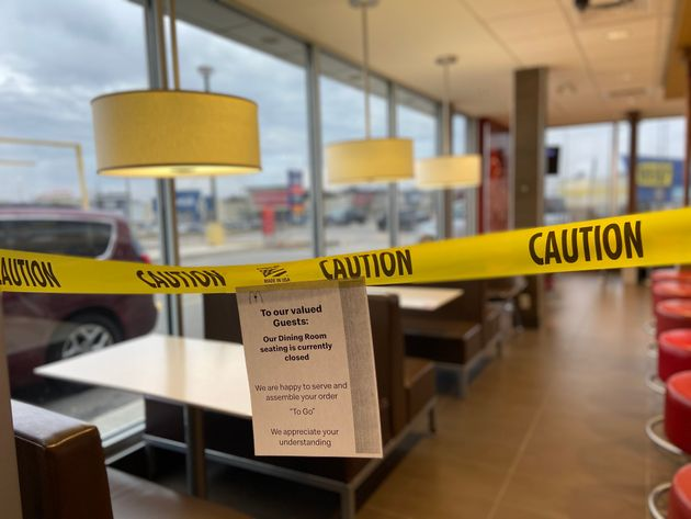 A cordoned-off dining room is seen here at a McDonald's restaurant in Hamilton, Ont., on March 19, 2020....