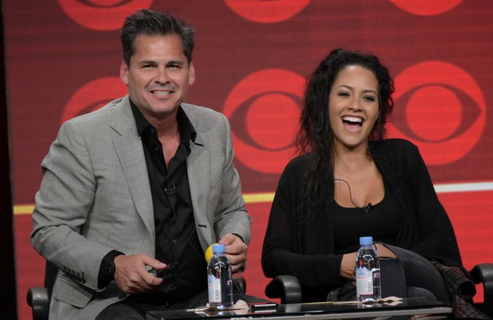 """Peter Lenkov and """"MacGyver"""" star Tristin Mays at the 2016 CBS Television Critics Association summer press tour."""