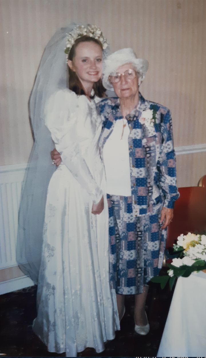 Sarah and her nan in 1997.