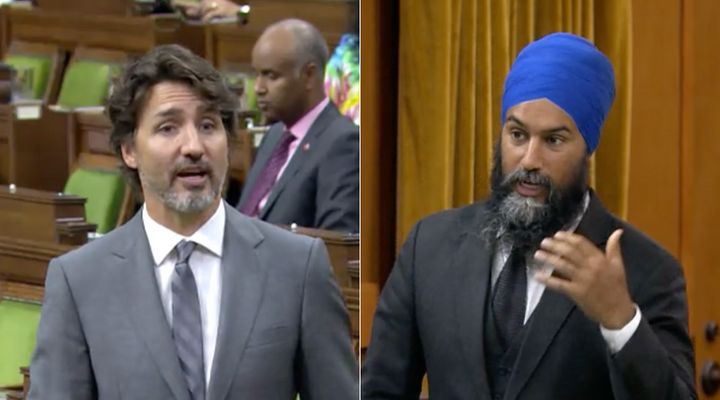 Prime Minister Justin Trudeau and NDP Leader Jagmeet Singh attend question period in the House of Commons on July 21, 2020.