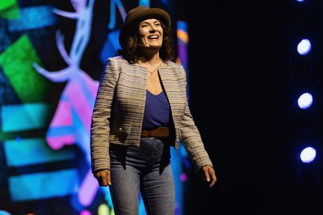 Mmental health advocate Margaret Trudeau speaks on stage during WE Day at Tacoma Dome on April 18, 2019...