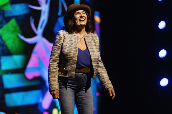 Mmental health advocate Margaret Trudeau speaks on stage during WE Day at Tacoma Dome on April 18, 2019 in Tacoma, Wash.