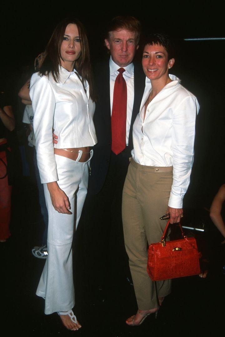 Melania Knauss (later Melania Trump) and Donald Trump with British socialite Ghislaine Maxwell in New York, September 2000.