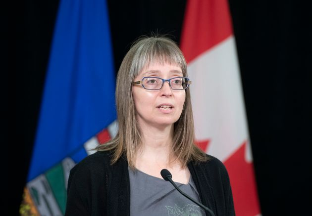 Alberta chief medical officer Dr. Deena Hinshaw speaks during a press conference on July 21,