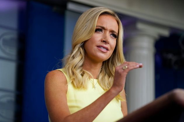 White House press secretary Kayleigh McEnany speaks during a press briefing at the White House on July...