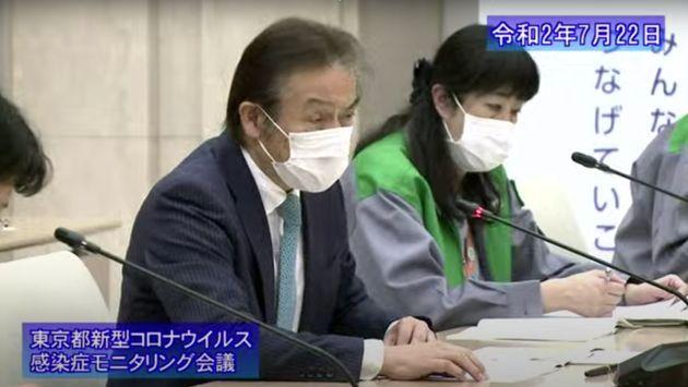 東京都のモニタリング会議で「都の医療体制が逼迫していないとはとても申し上げられない」などと述べる山口芳裕氏