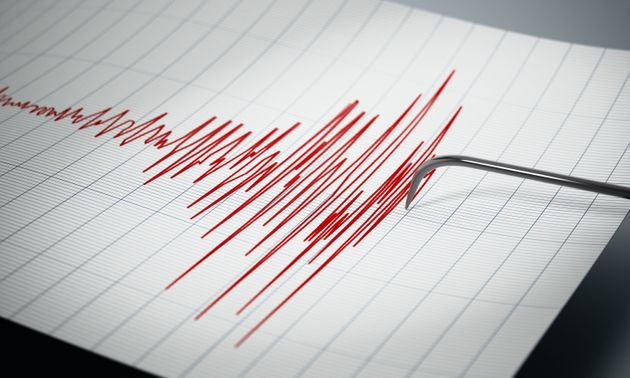 Seismograph recording the seismic activity of an