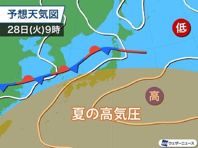 気圧配置の予想 28日(火)9時