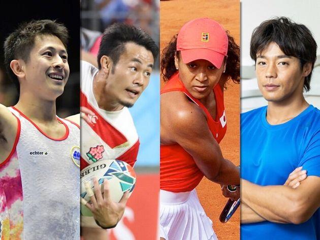 左からトランポリン外村哲也さん、ラグビー福岡堅樹選手、テニス大坂なおみ選手、カヌー羽根田卓也選手