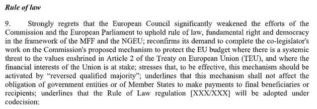Risoluzione dell'Europarlamento sull'intesa su recovery