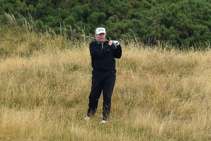 Donald Trump, pictured playing golf at his Trump Turnberry resort in 2018. The president reportedly sought to move the Britis