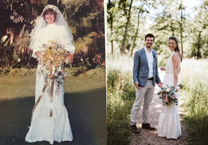 Amy's mumCarole (left) and Amy with her husband David (right)