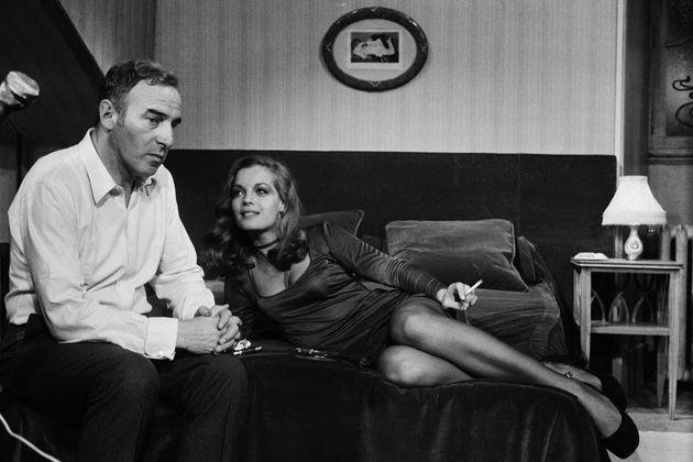 Le réalisateur Claude Sautet avec Romy Schneider sur le tournage du film